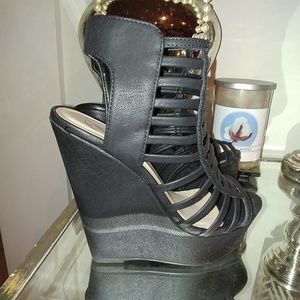 Shoes - **Brand New 7.5 Black Wedged Heels.
